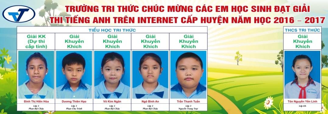 Danh sách học sinh đạt giải thi tiếng Anhh trên internet cấp huyện